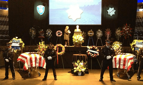 Attending a funeral of a fallen police officer